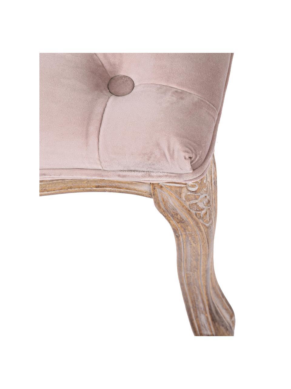 Ławka z aksamitu w stylu barokowym Mathilde, Tapicerka: aksamit poliestrowy Tkani, Stelaż: drewno brzozowe, pokryte , Brudny różowy, drewno brzozowe, S 110 x W 47 cm