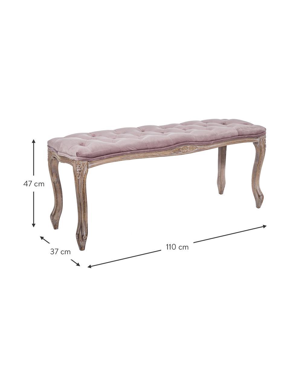 Fluwelen zitbank Mathilde in barok stijl, Bekleding: polyester fluweel De bekl, Frame: berkenhout, nitrocellulos, Oudroze, berkenhoutkleurig, B 110 x D 37 cm