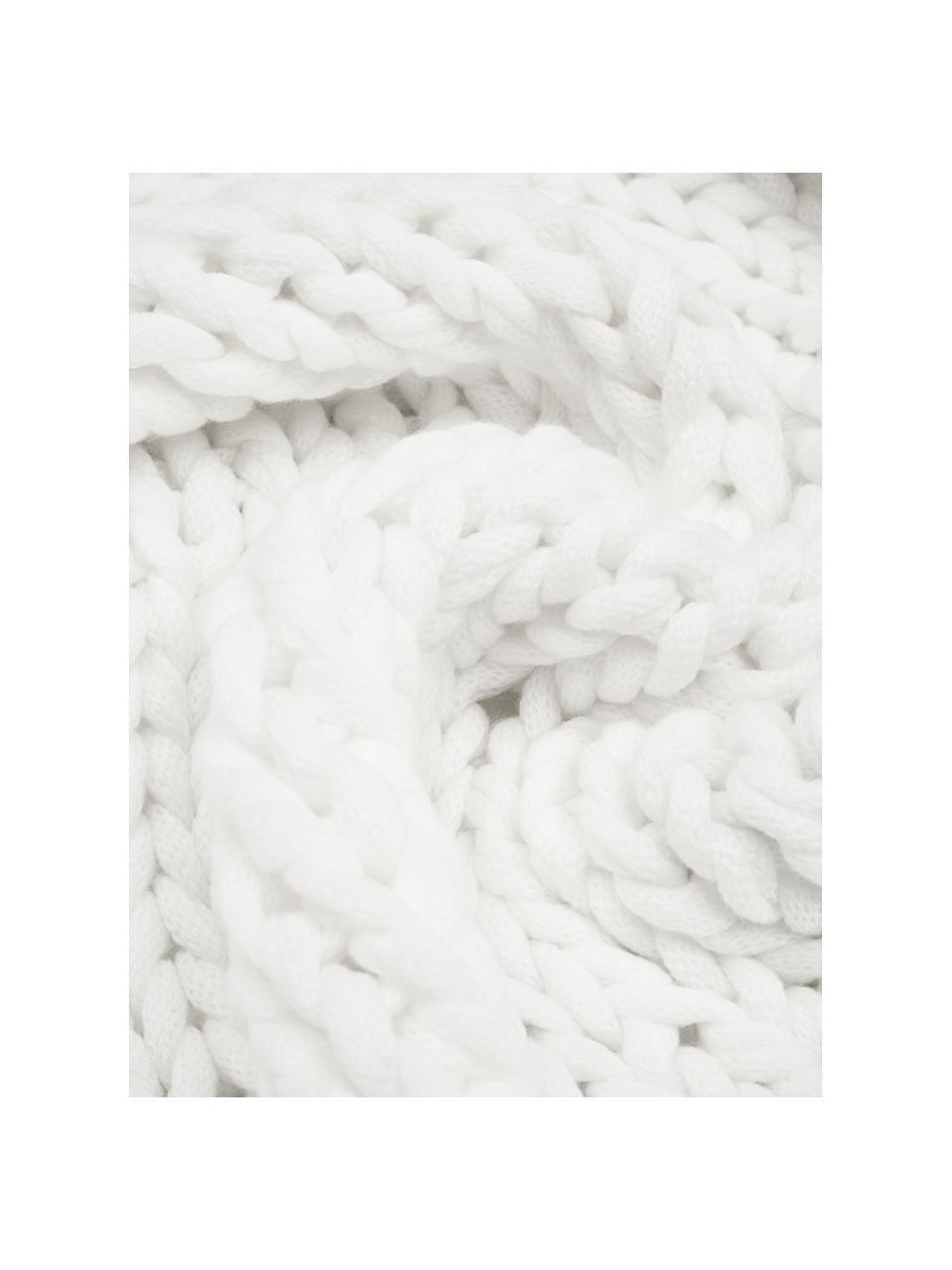 Handgemachte Grobstrick-Decke Adyna in Weiß, 100% Polyacryl, Cremeweiß, 130 x 170 cm