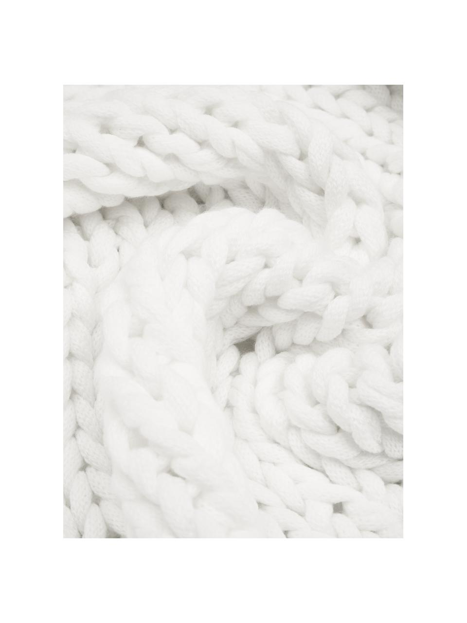 Ręcznie wykonany koc z grubej dzianiny Adyna, 100% poliakryl, Biały, S 130 x D 170 cm