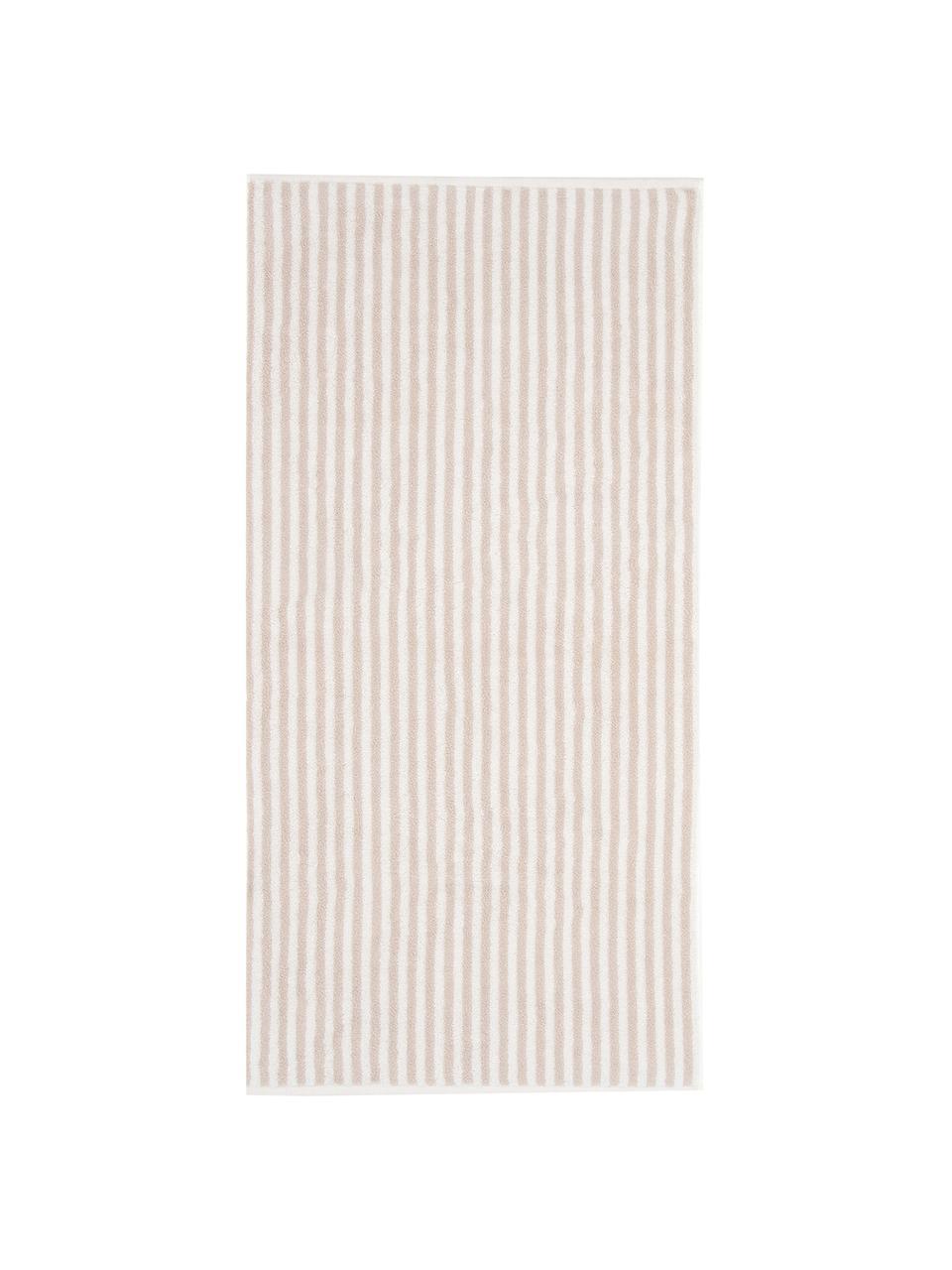 Serviette de toilette coton pur à rayures Viola, Couleur sable, blanc crème