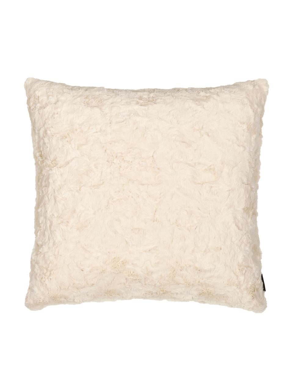 Federa arredo in soffice pelliccia sintetica color bianco crema Isis, 100% poliestere, Bianco crema, Larg. 45 x Lung. 45 cm