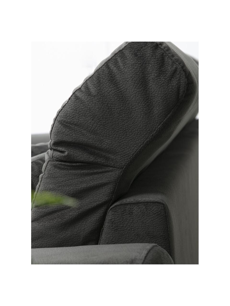 Sofa narożna Frido (4-osobowa), Tapicerka: 100% poliester, Stelaż: drewno brzozowe, płyta wi, Nogi: metal powlekany, Antracytowy, S 308 x G 190 cm