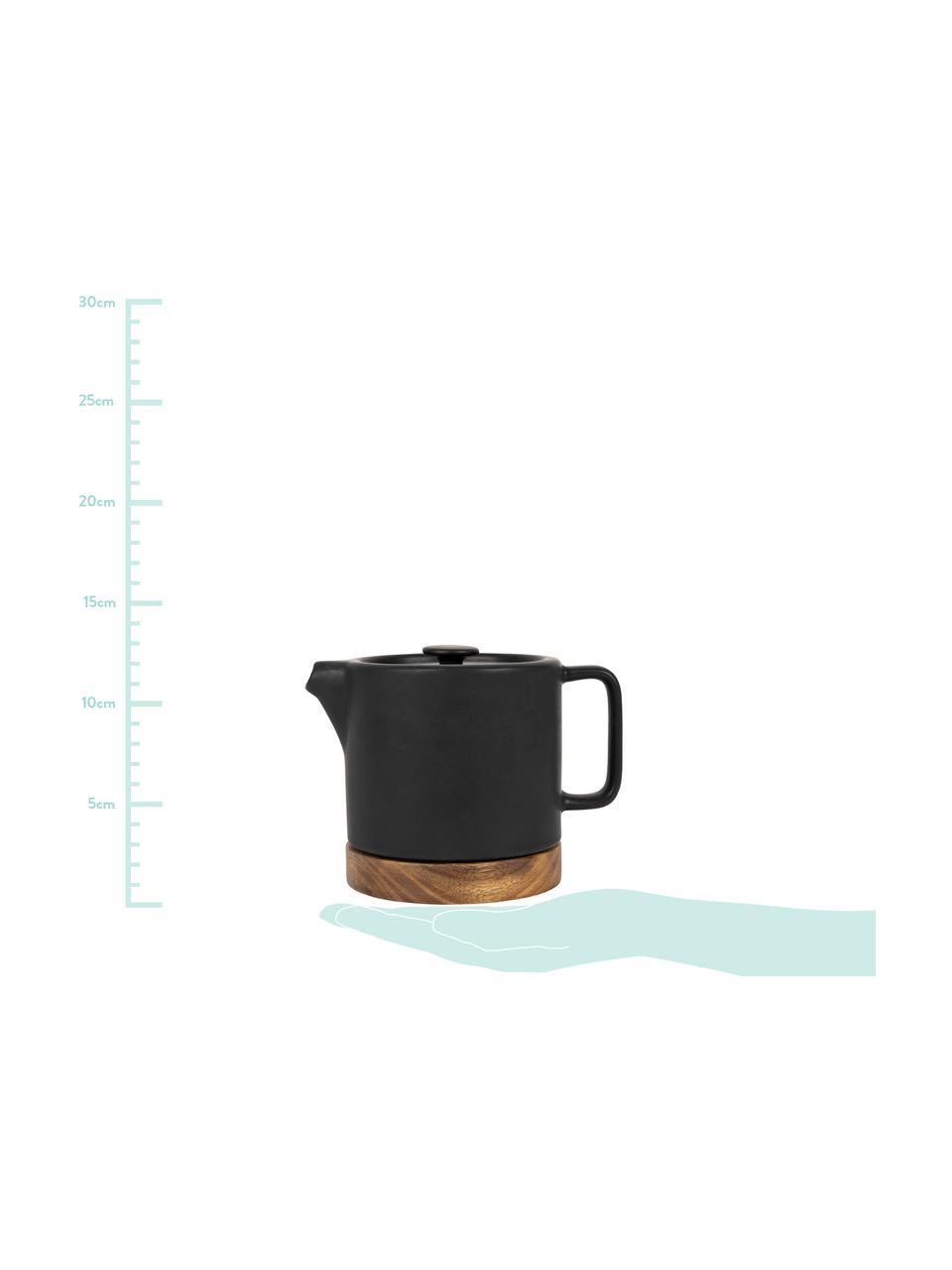 Steingut Teekanne Nordika mit Akazienholzsockel, 700 ml, Untersetzer: Akazienholz, Schwarz, Braun, 700 ml