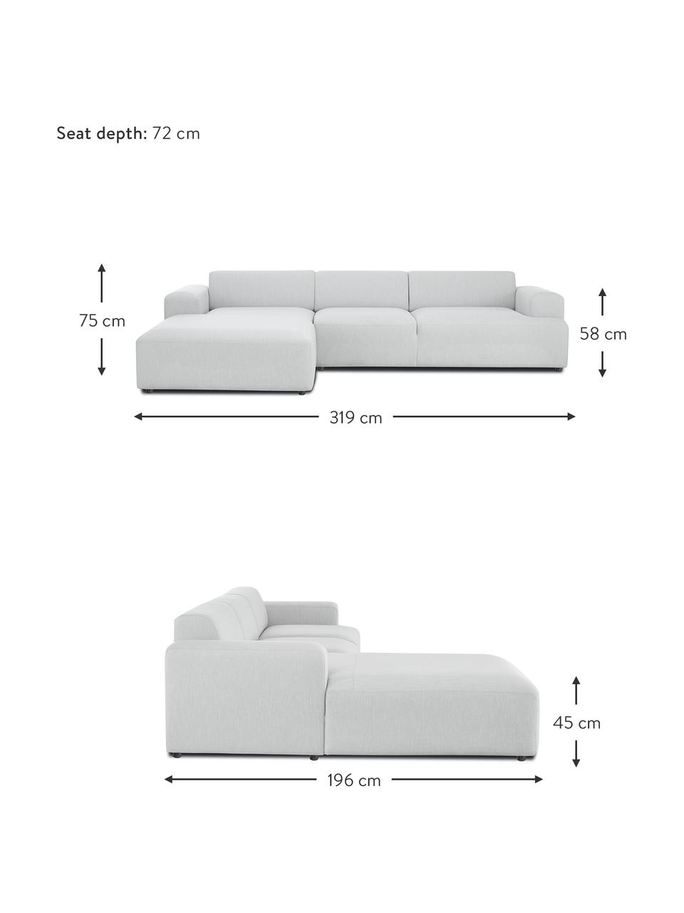 Ecksofa Melva (4-Sitzer) in Hellgrau, Bezug: 100% Polyester Der hochwe, Gestell: Massives Kiefernholz, FSC, Füße: Kunststoff, Webstoff Hellgrau, B 319 x T 196 cm