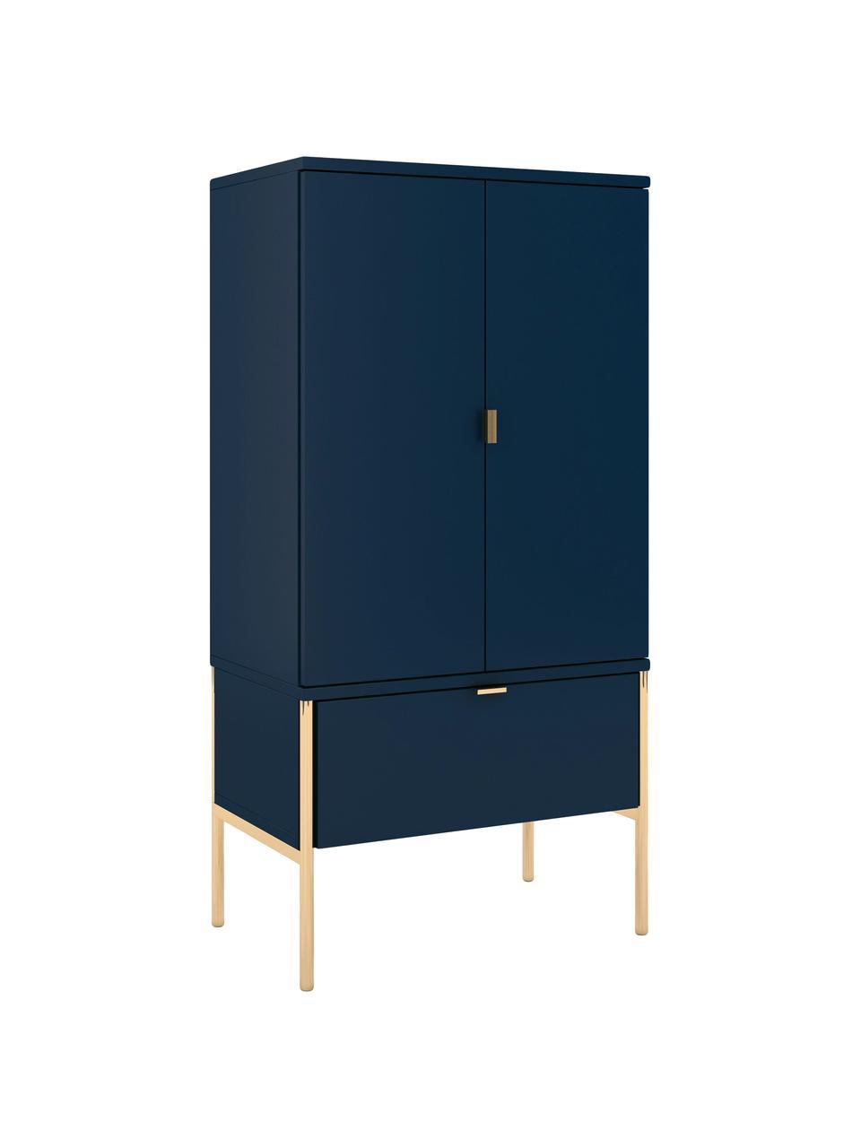 Credenza alta color blu scuro Polka, Blu scuro, Larg. 60 x Alt. 120 cm