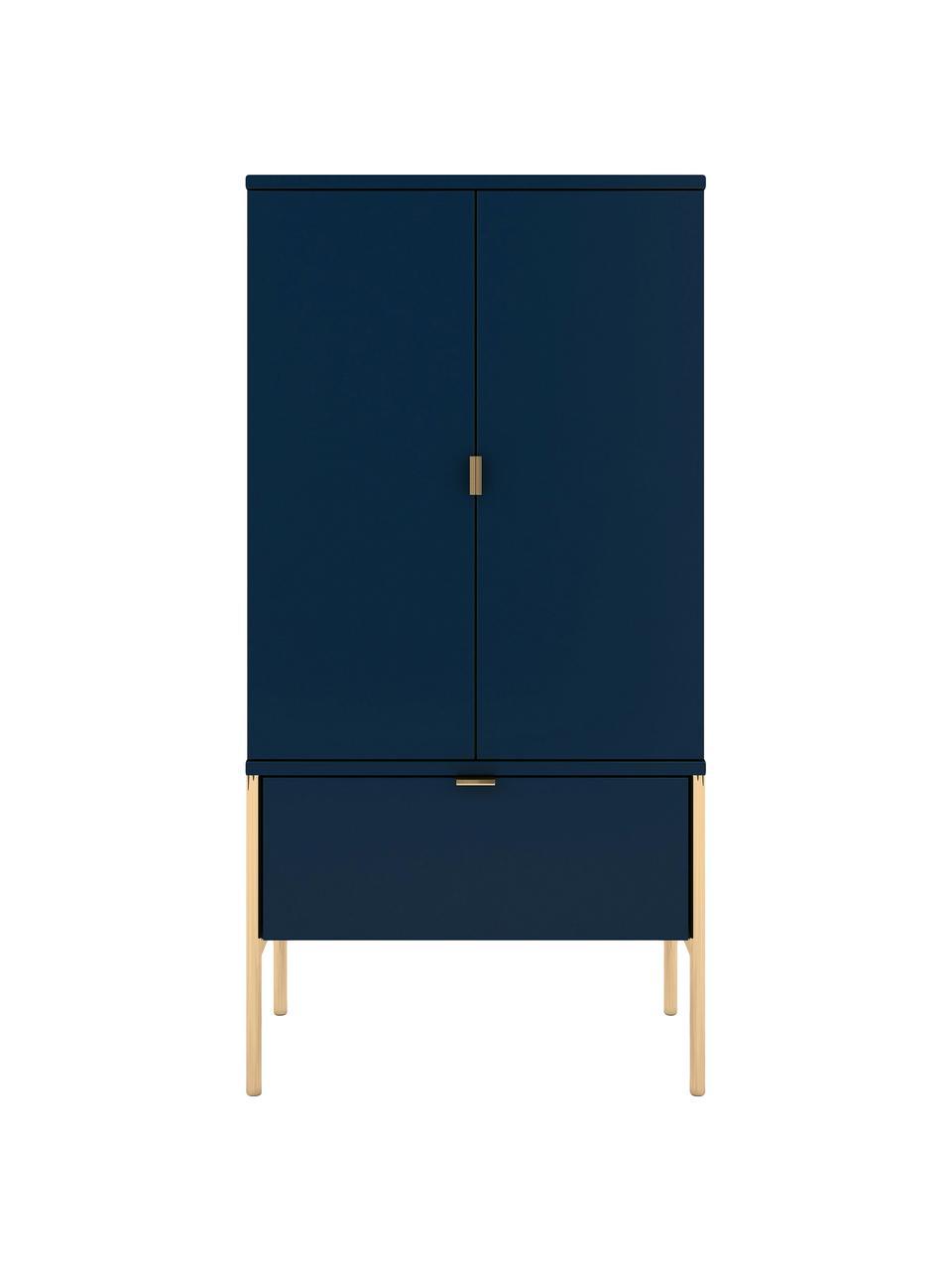 Donkerblauw dressoir Polka met deurtjes, Frame: gelamineerd vezelplaat me, Donkerblauw, 60 x 120 cm