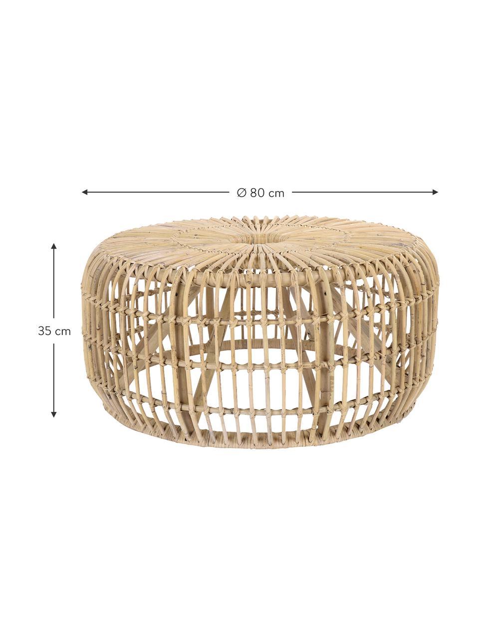 Okrągły stolik kawowy z rattanu Kim, Rattan naturalny, Rattan, Ø 80 x W 35 cm