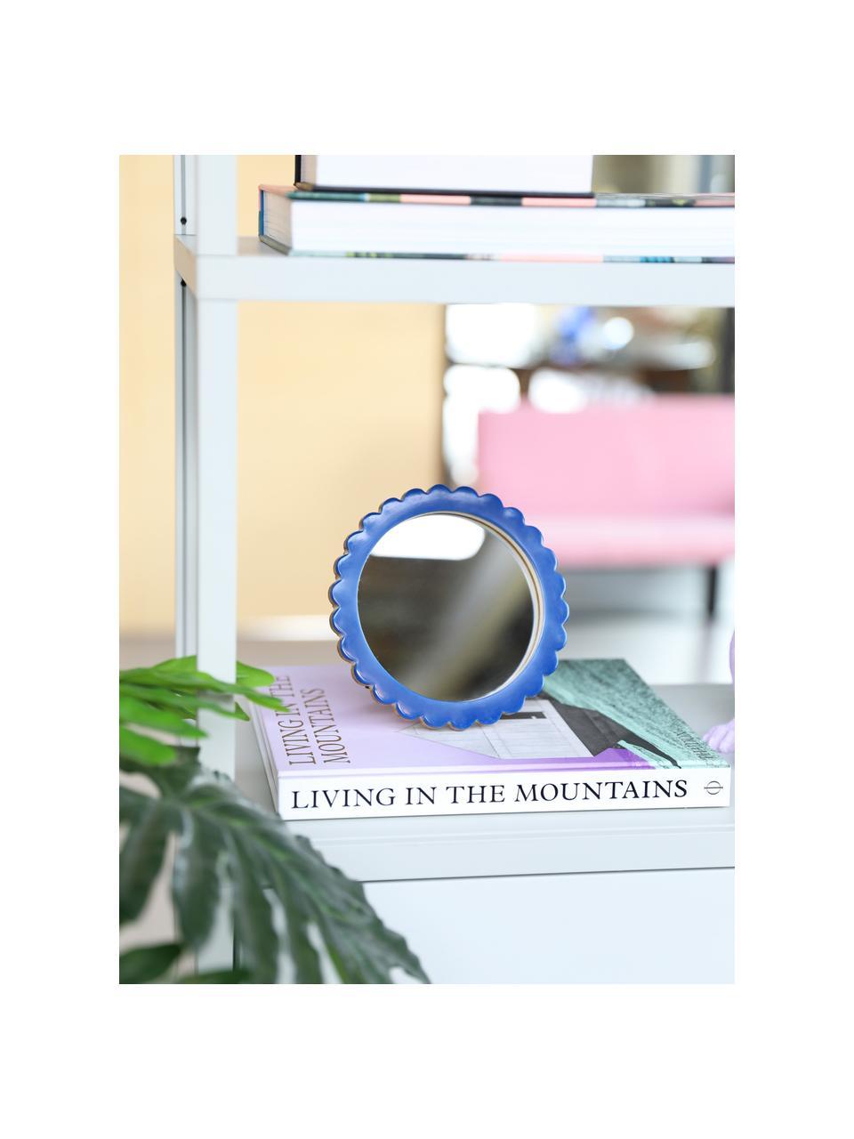 Kosmetikspiegel Bloom mit blauem Kuststoffrahmen, Rahmen: Polyresin, Mitteldichte H, Spiegelfläche: Spiegelglas, Blau, Ø 17 cm x T 2 cm