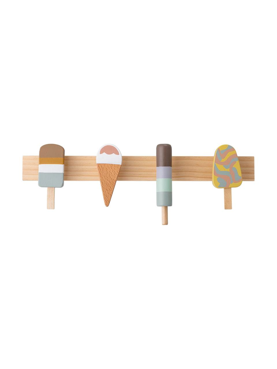 Wandgarderobe Ice Creams, Buchenholz, Lotusholz, Metall, Mehrfarbig, 38 x 13 cm