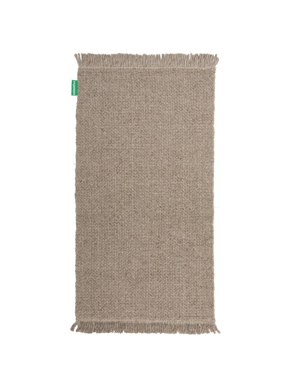 Ręcznie tkany dywan z wełny z frędzlami Alvin, Taupe, melanżowy, S 120 x D 170 cm (Rozmiar S)