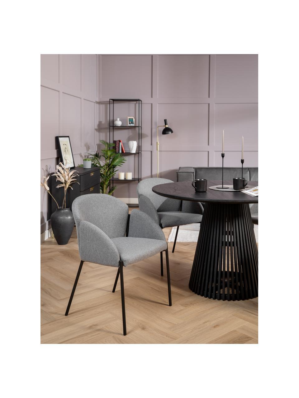 Krzesło tapicerowane z metalowymi nogami Malingu, Tapicerka: 95% poliester, 5% bawełna, Stelaż: metal lakierowany, Szary, S 60 x G 60 cm
