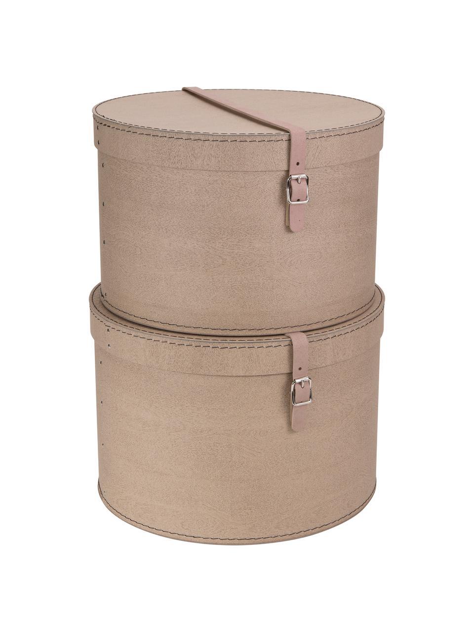 Set 2 scatole Rut, Scatola: cartone massiccio, stampa, Manico: pelle, metallo, Scatola esterno: beige Scatola interno: nero Manico: beige, Set in varie misure