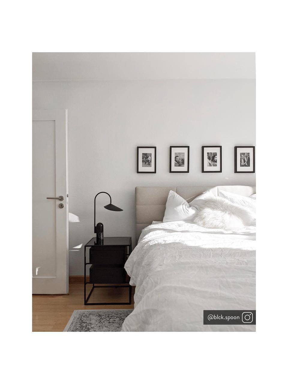 Nachtkastje Lyle met glazen blad, Plank: glas, Zwart gelakt mangohout, 45 x 58 cm