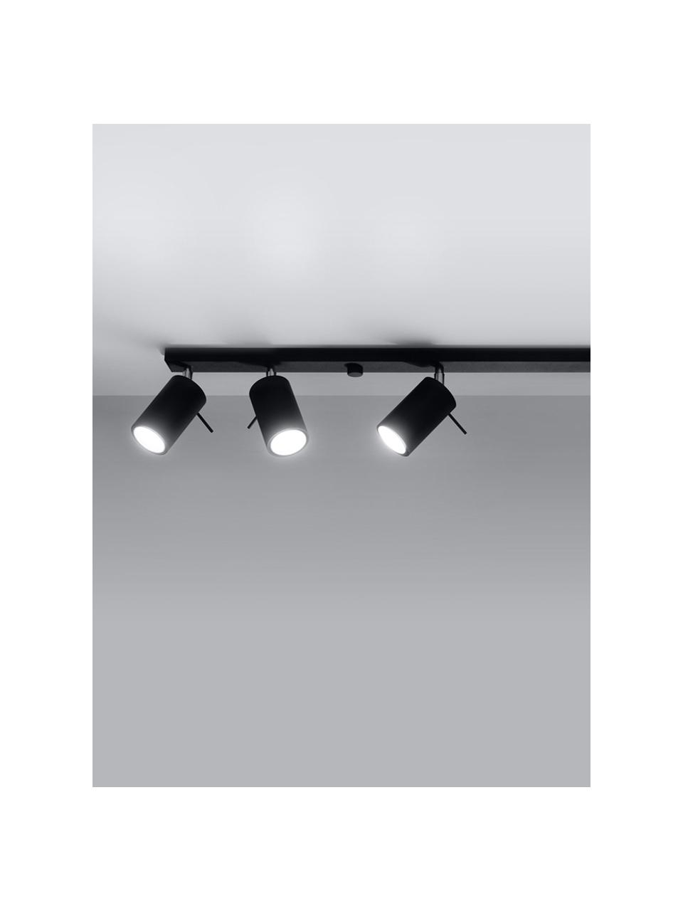 Faretti da soffitto neri Etna, Paralume: acciaio verniciato, Baldacchino: acciaio verniciato, Nero, Larg. 117 x Alt. 16 cm