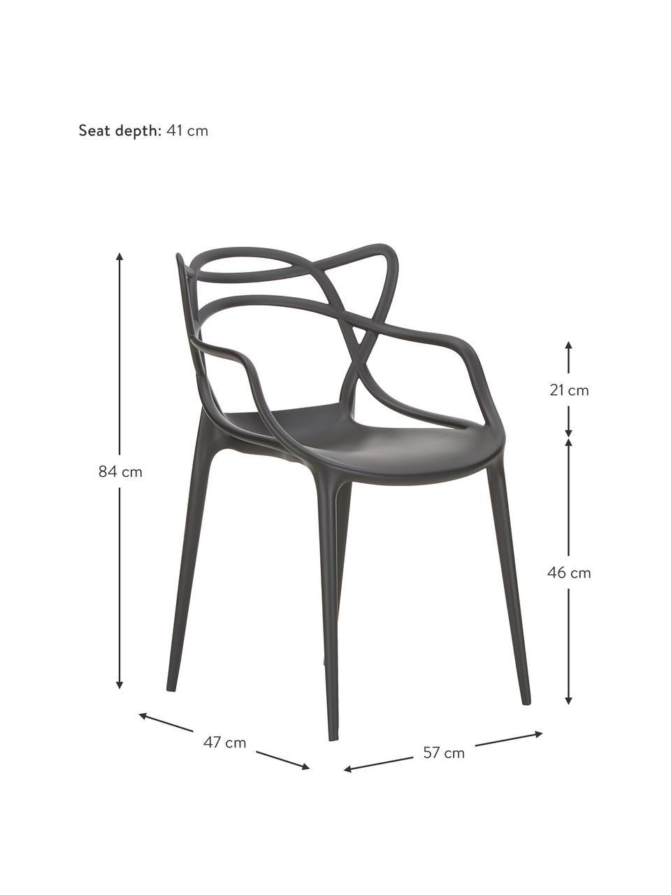 Krzesło z podłokietnikami Masters, 2 szt., Polipropylen, Czarny, S 57 x G 47 cm