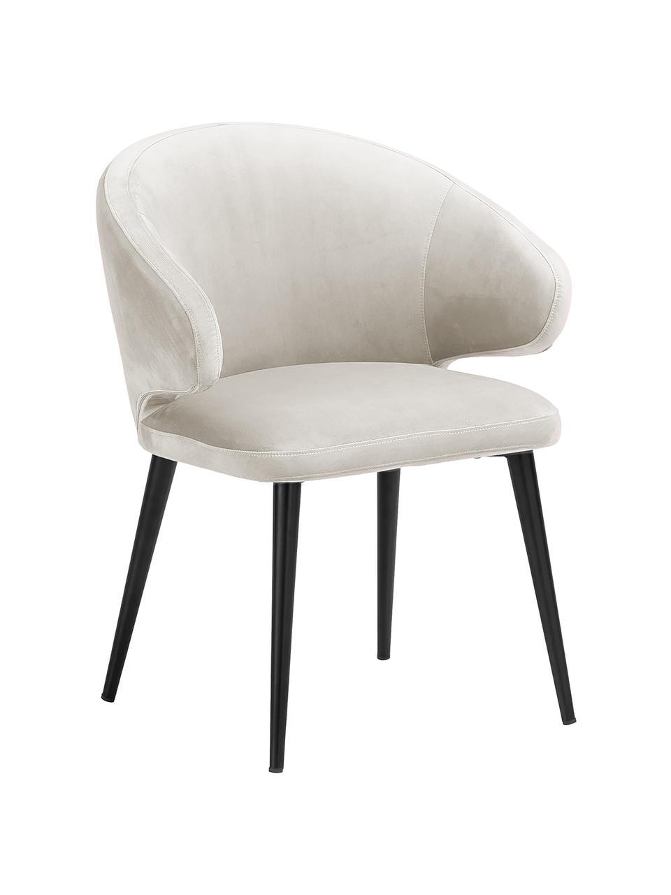 Moderní sametová židle spodručkami Celia, Béžová