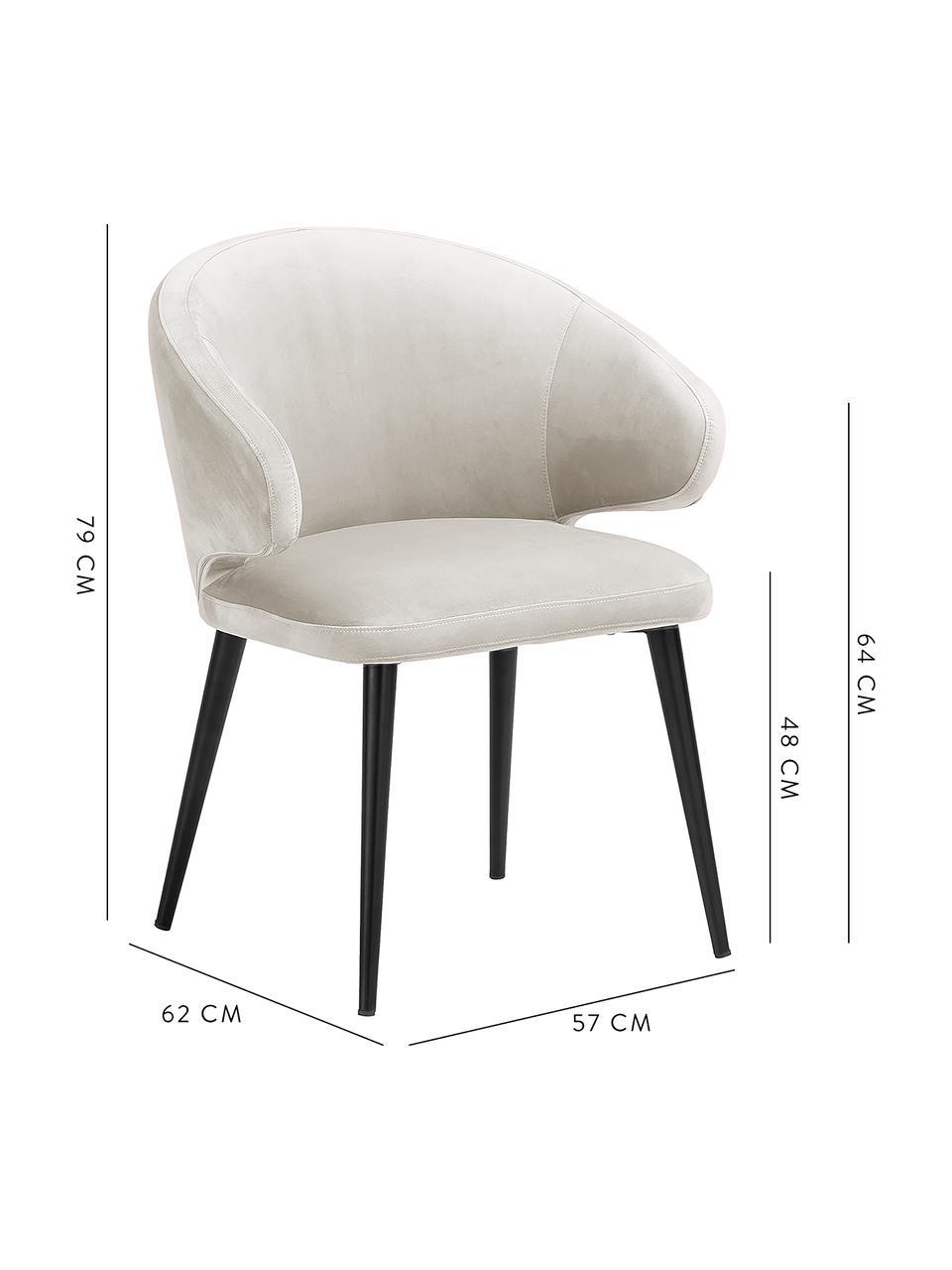Krzesło z podłokietnikami z aksamitu Celia, Tapicerka: aksamit (poliester) Dzięk, Nogi: metal malowany proszkowo, Aksamitny beżowy, S 57 x G 62 cm
