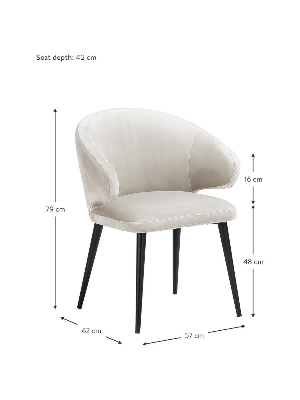 Samt-Armlehnstuhl Celia in modernem Design, Bezug: Samt (Polyester) Der hoch, Beine: Metall, pulverbeschichtet, Samt Beige, B 57 x T 62 cm