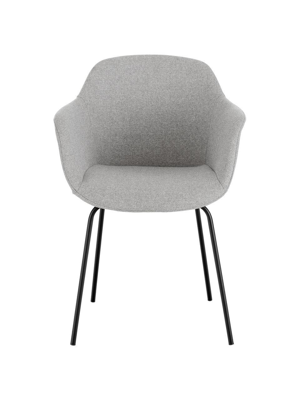 Krzesło z podłokietnikami z metalowymi nogami Fiji, Tapicerka: poliester Dzięki tkaninie, Nogi: metal malowany proszkowo, Jasny szary, S 58 x G 56 cm