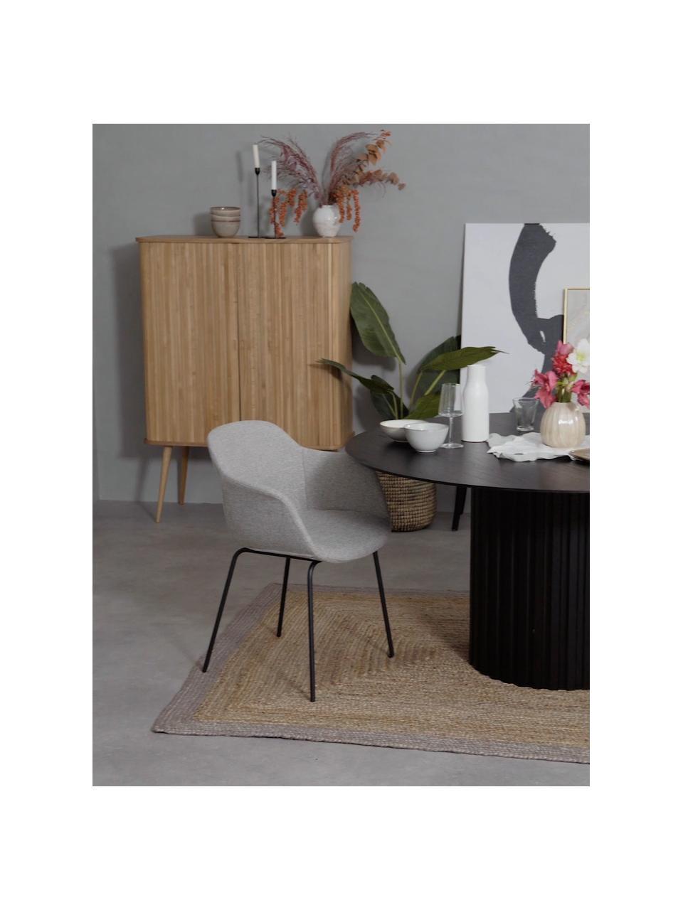 Armstoel Fiji met metalen poten, Bekleding: polyester De bekleding is, Poten: gepoedercoat metaal, Geweven stof lichtgrijs, B 58 x D 56 cm