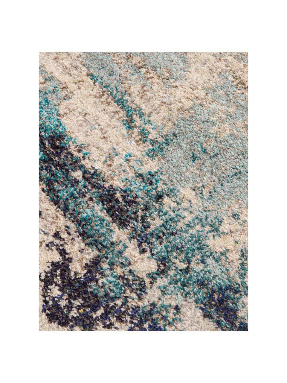 Design vloerkleed Celestial in blauw-crèmekleur, Bovenzijde: 100% polypropyleen, Onderzijde: jute, Ivoorkleurig, blauwtinten, B 160 x L 220 cm (maat M)