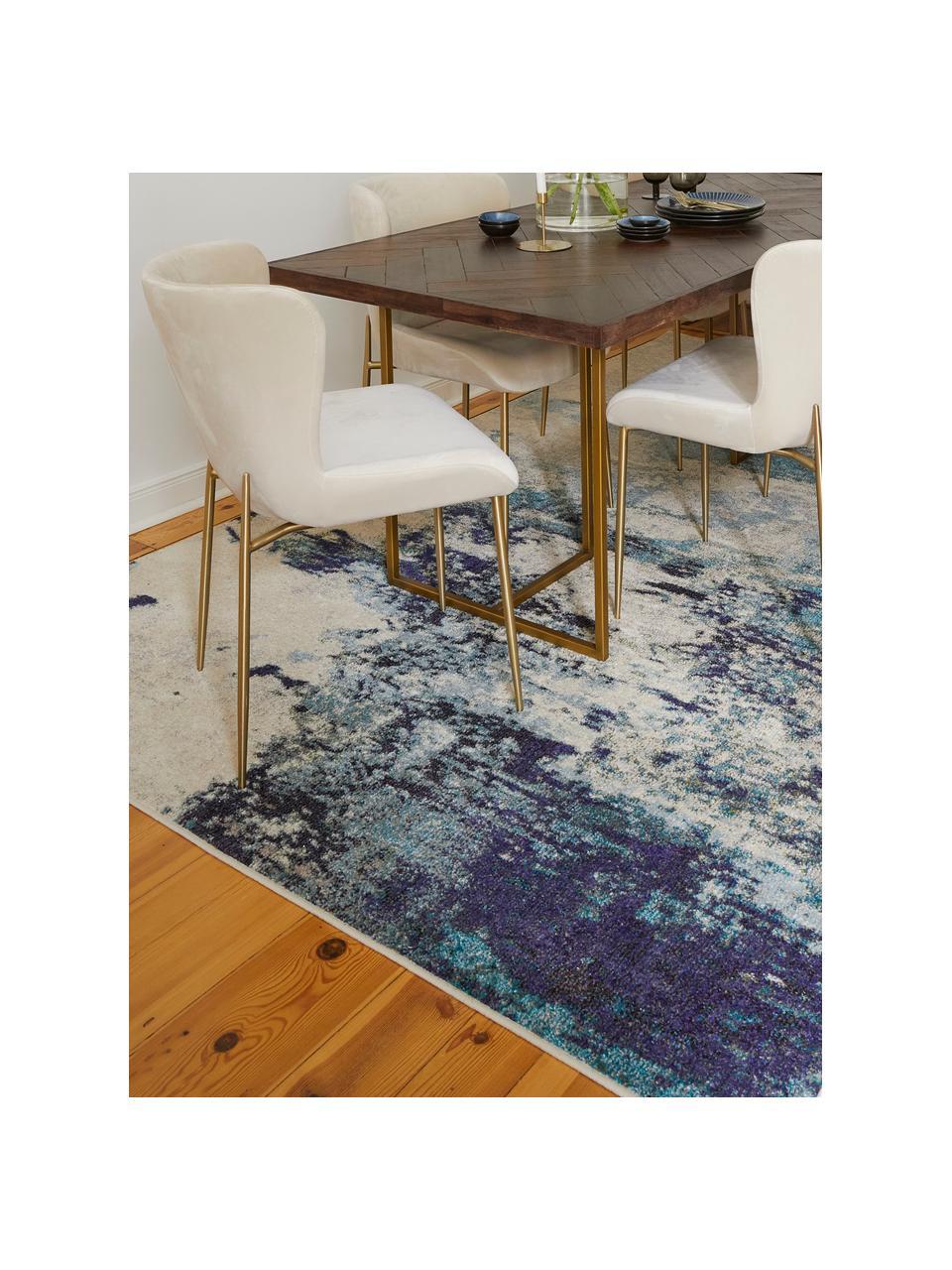 Designteppich Celestial in Blau-Creme, Flor: 100% Polypropylen, Elfenbeinfarben, Blautöne, B 160 x L 220 cm (Größe M)