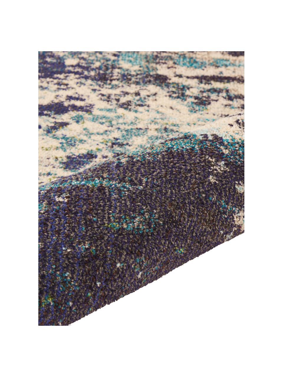 Tappeto di design color blu-crema Celestial, Retro: juta, Avorio, tonalità blu, Larg.160 x Lung. 220 cm  (taglia M)