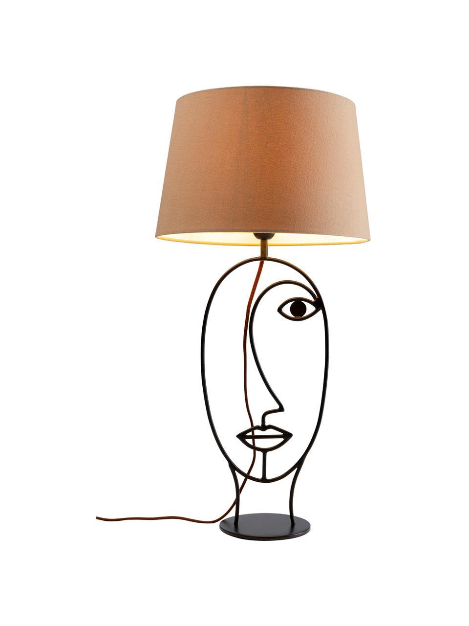 Velká stolní lampa Face Nature, Béžová, černá