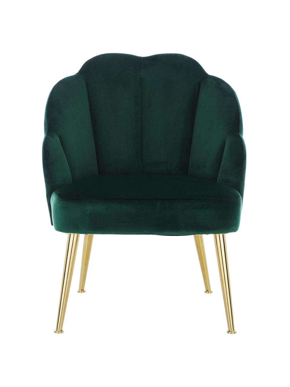 Fotel koktajlowy z aksamitu Helle, Tapicerka: aksamit (poliester) Dzięk, Nogi: metal malowany proszkowo, Aksamitny ciemny zielony, S 65 x G 65 cm