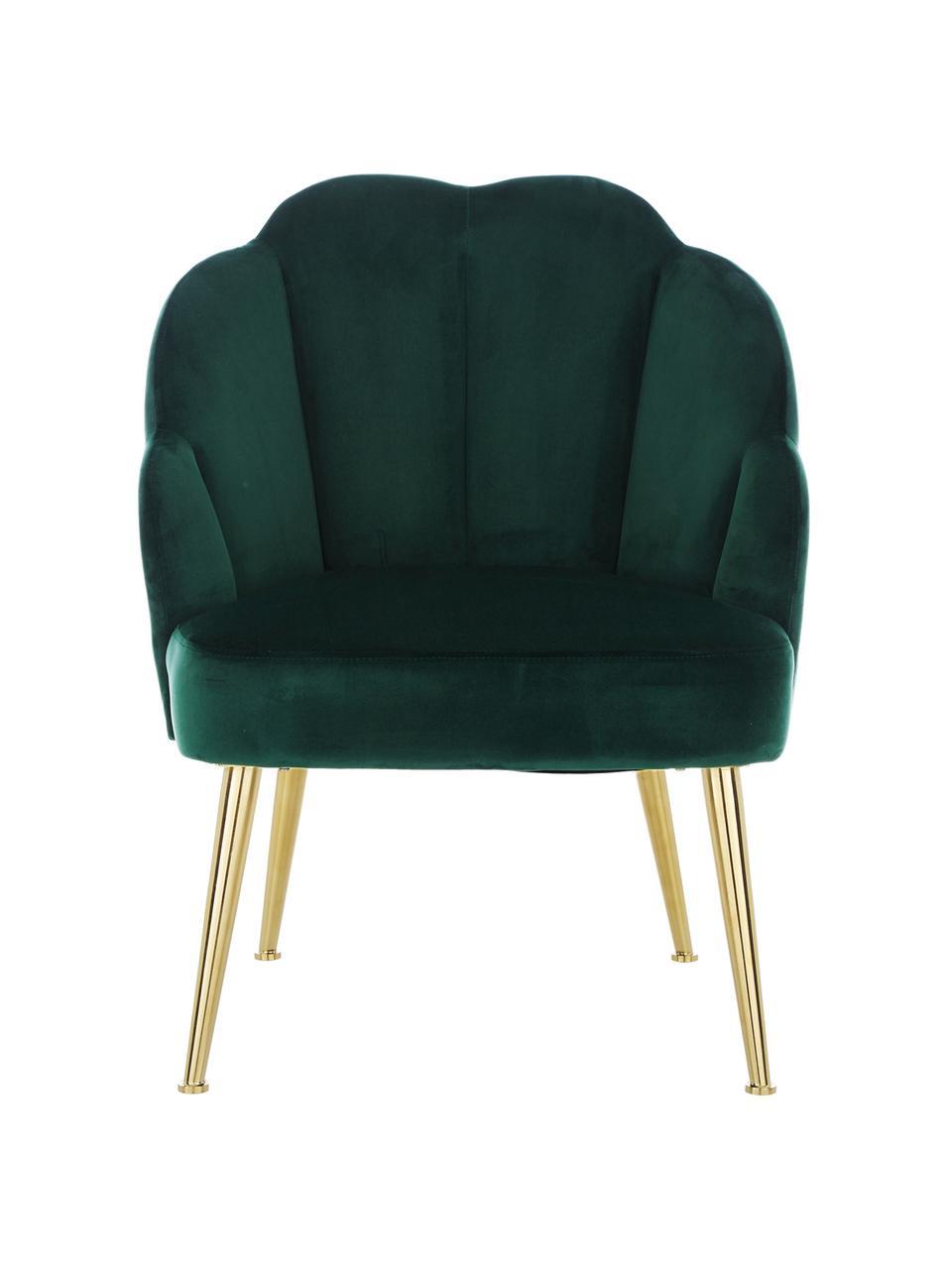 Poltrona in velluto verde scuro Helle, Rivestimento: velluto (poliestere) Il r, Piedini: metallo verniciato a polv, Velluto verde scuro, Larg. 65 x Prof. 65 cm