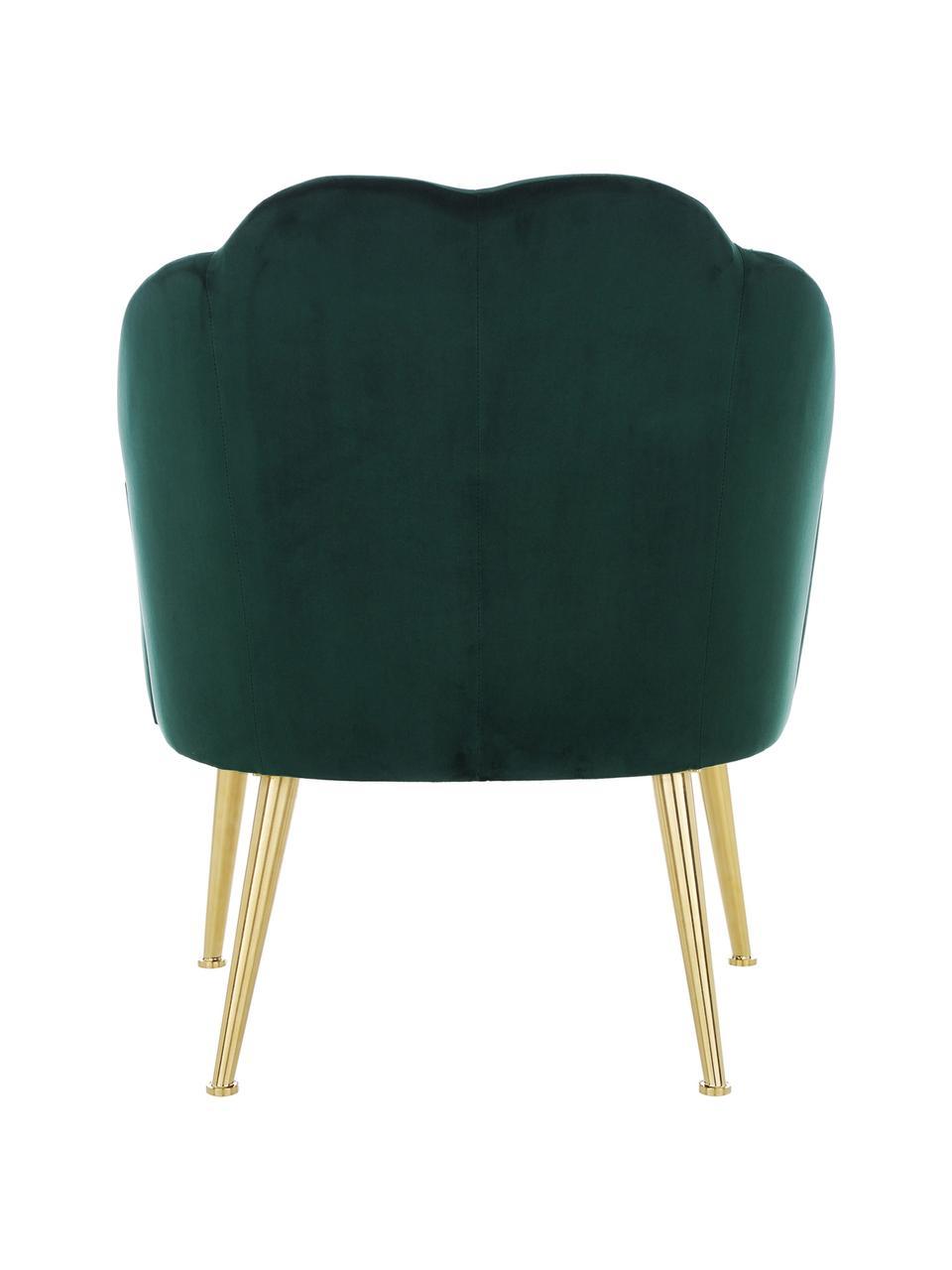 Fluwelen fauteuil Helle in groen, Bekleding: fluweel (polyester), Poten: gepoedercoat metaal, Donkergroen, B 65 x D 65 cm
