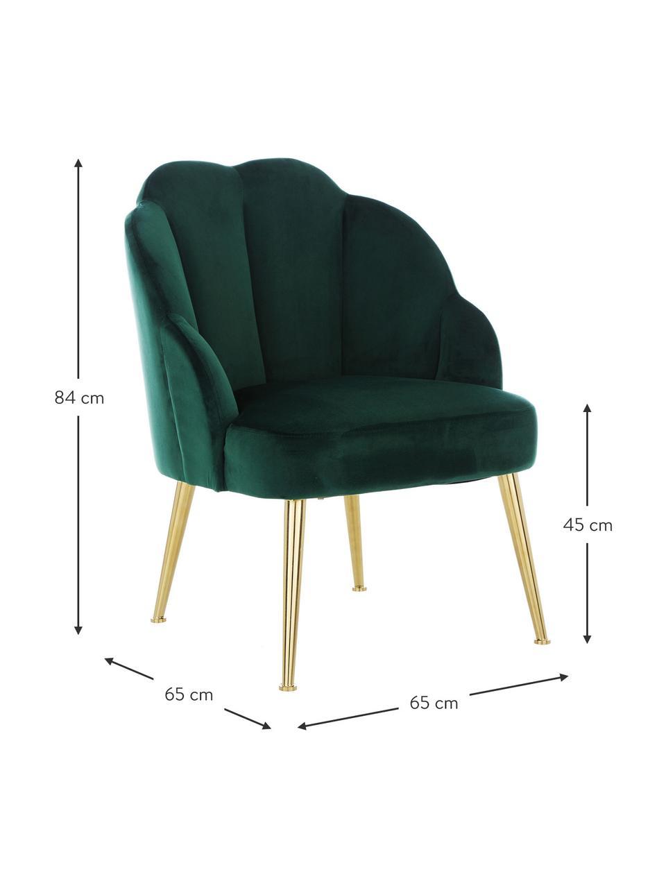 Samt-Cocktailsessel Helle in Grün, Bezug: Samt (Polyester) Der hoch, Füße: Metall, pulverbeschichtet, Samt Dunkelgrün, B 65 x T 65 cm