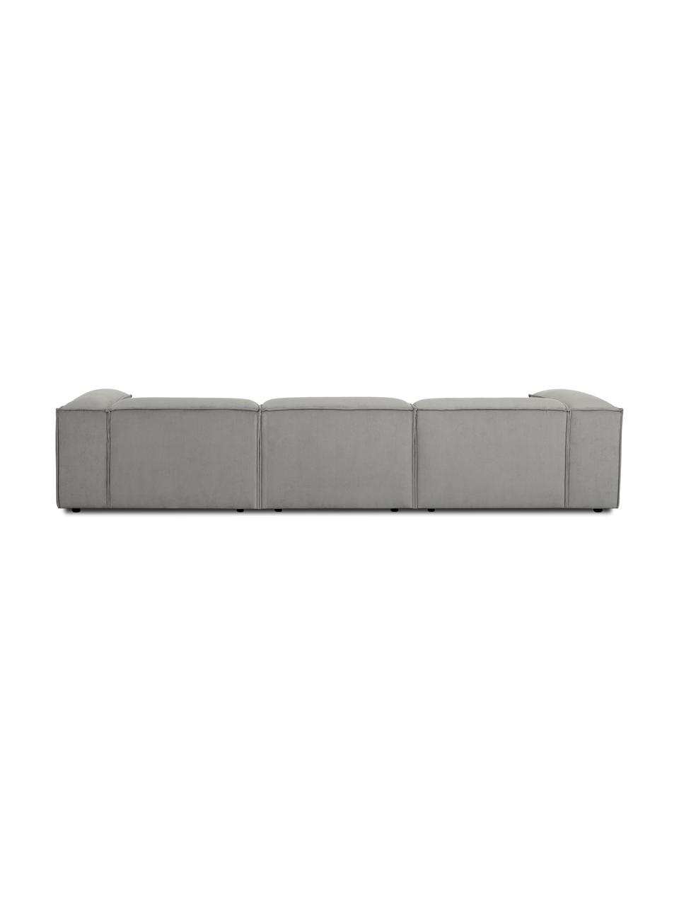Sofa modułowa ze sztruksu Lennon (4-osobowa), Tapicerka: sztruks (92% poliester, 8, Stelaż: lite drewno sosnowe, skle, Nogi: tworzywo sztuczne Nogi zn, Szary, S 327 x G 119 cm