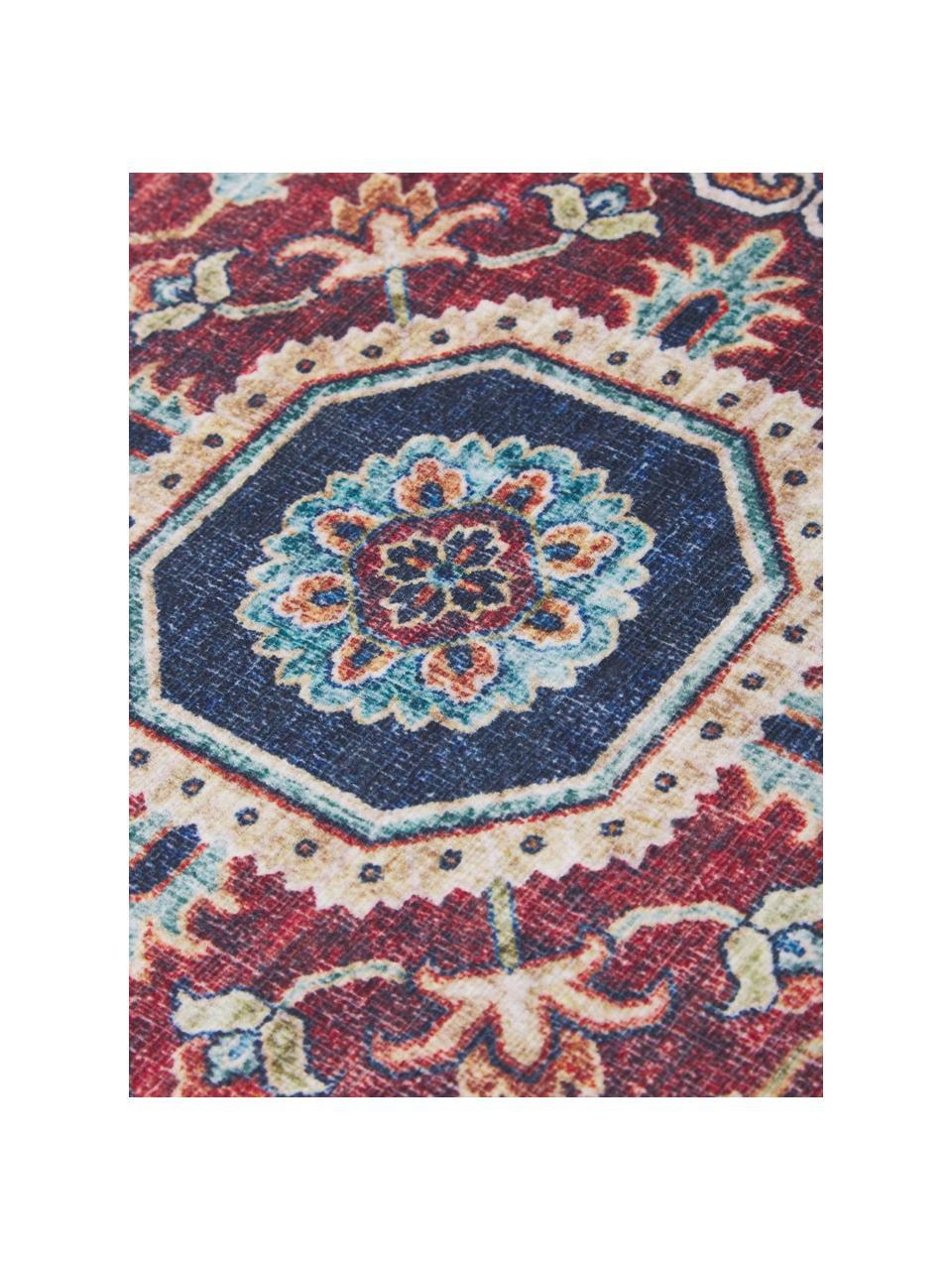 Tappeto vintage rosso scuro/blu Sylla, 100% poliestere, Blu, rosso, Larg. 200 x Lung. 290 cm (taglia L)