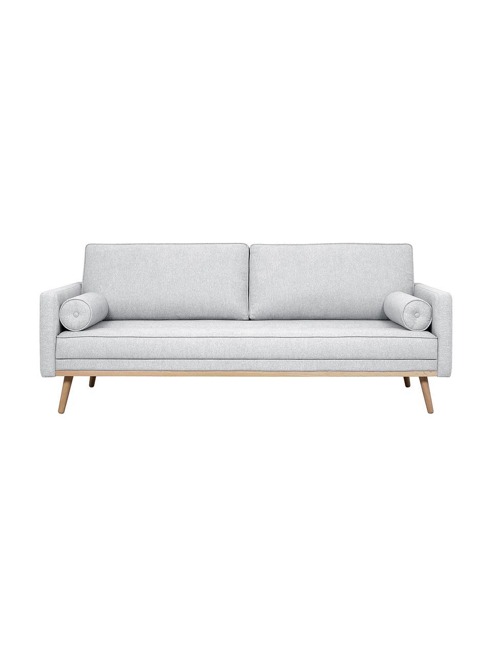 Sofa z nogami z drewna dębowego Saint (3-osobowa), Tapicerka: poliester Dzięki tkaninie, Jasny szary, S 210 x G 93 cm