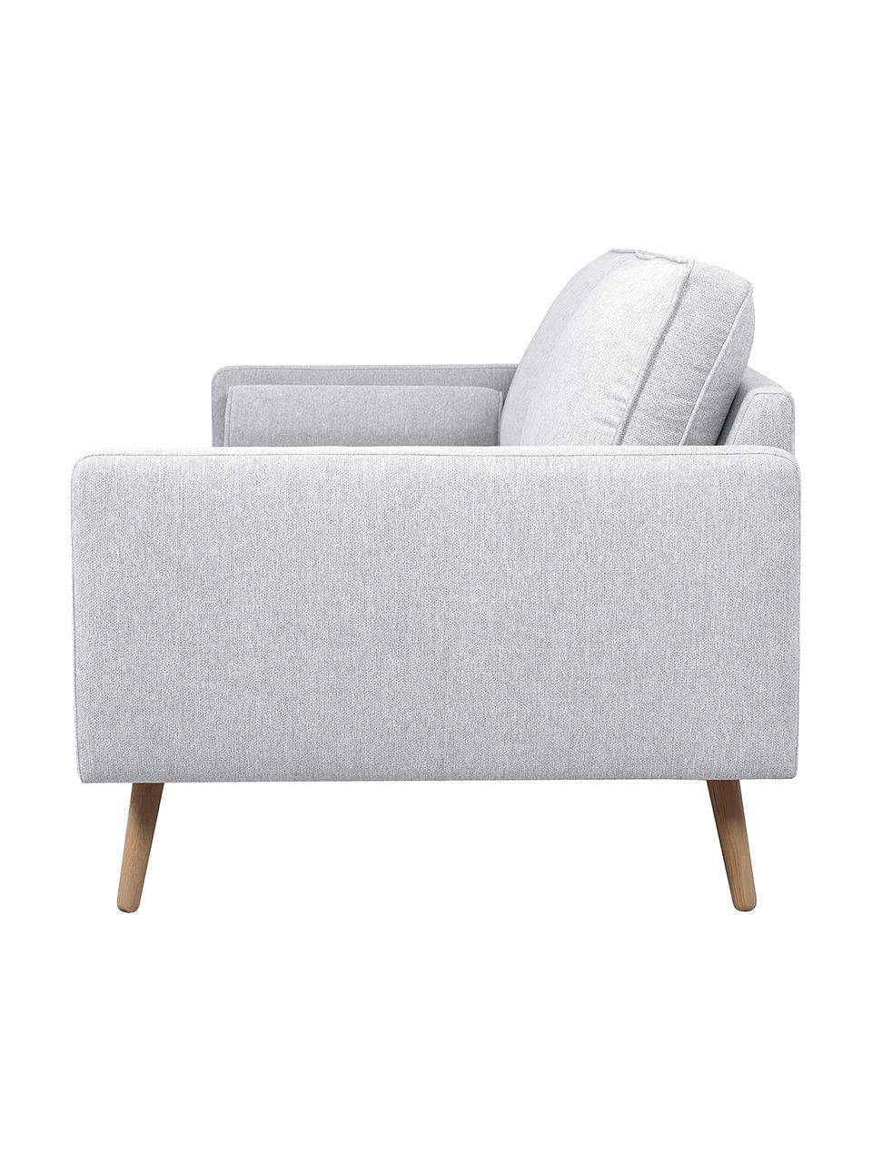 Sofa Saint (3-Sitzer) in Hellgrau mit Eichenholz-Füßen, Bezug: Polyester Der hochwertige, Gestell: Massives Kiefernholz, Spa, Webstoff Hellgrau, B 210 x T 93 cm