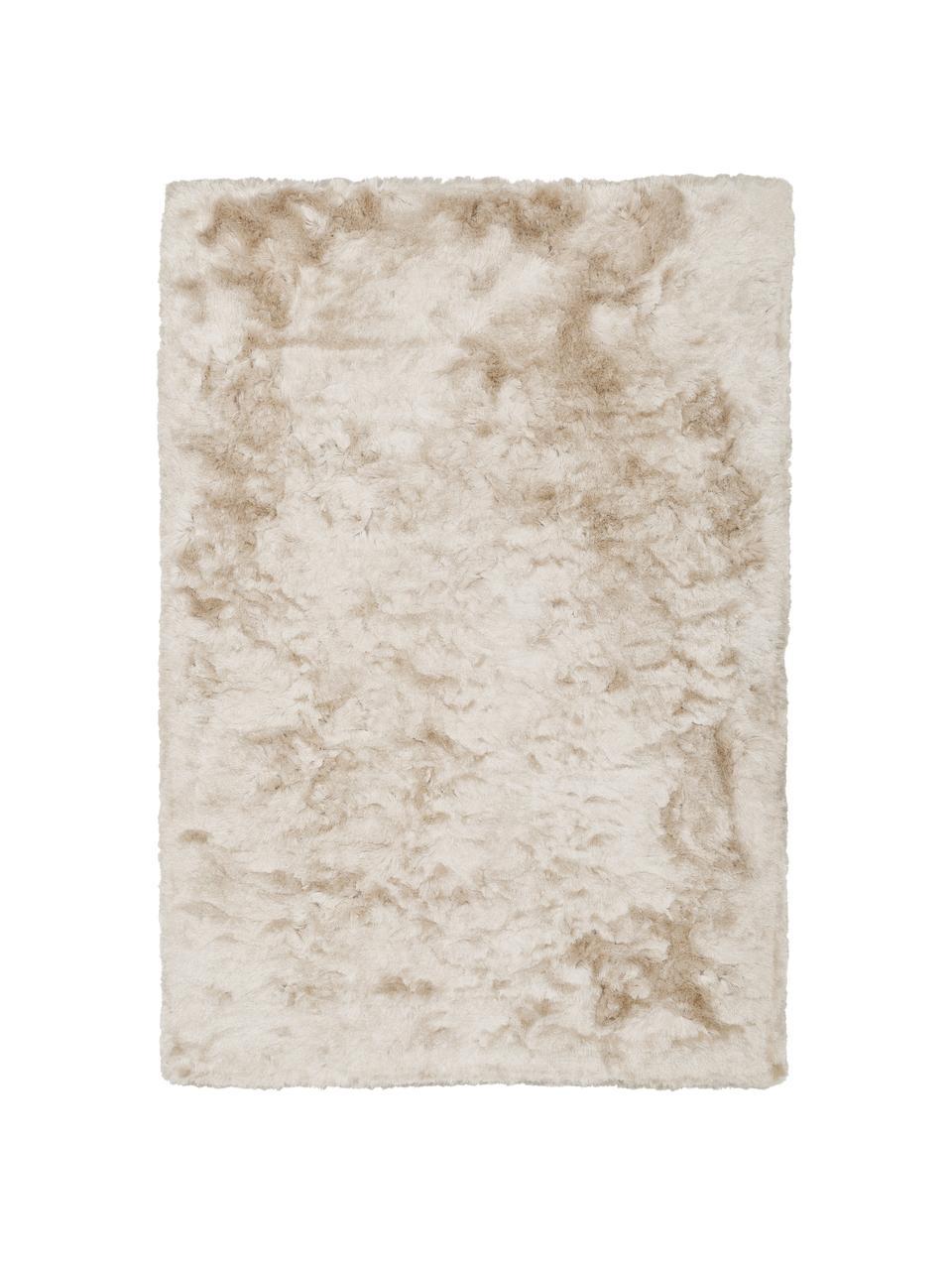 Glänzender Hochflor-Teppich Jimmy in Elfenbein, Flor: 100% Polyester, Elfenbeinfarben, B 300 x L 400 cm (Größe XL)