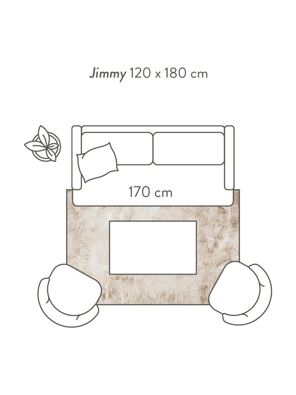 Glanzend hoogpolig vloerkleed Jimmy in ivoorkleur, Bovenzijde: 100% polyester, Onderzijde: 100% katoen, Ivoorkleurig, 300 x 400 cm