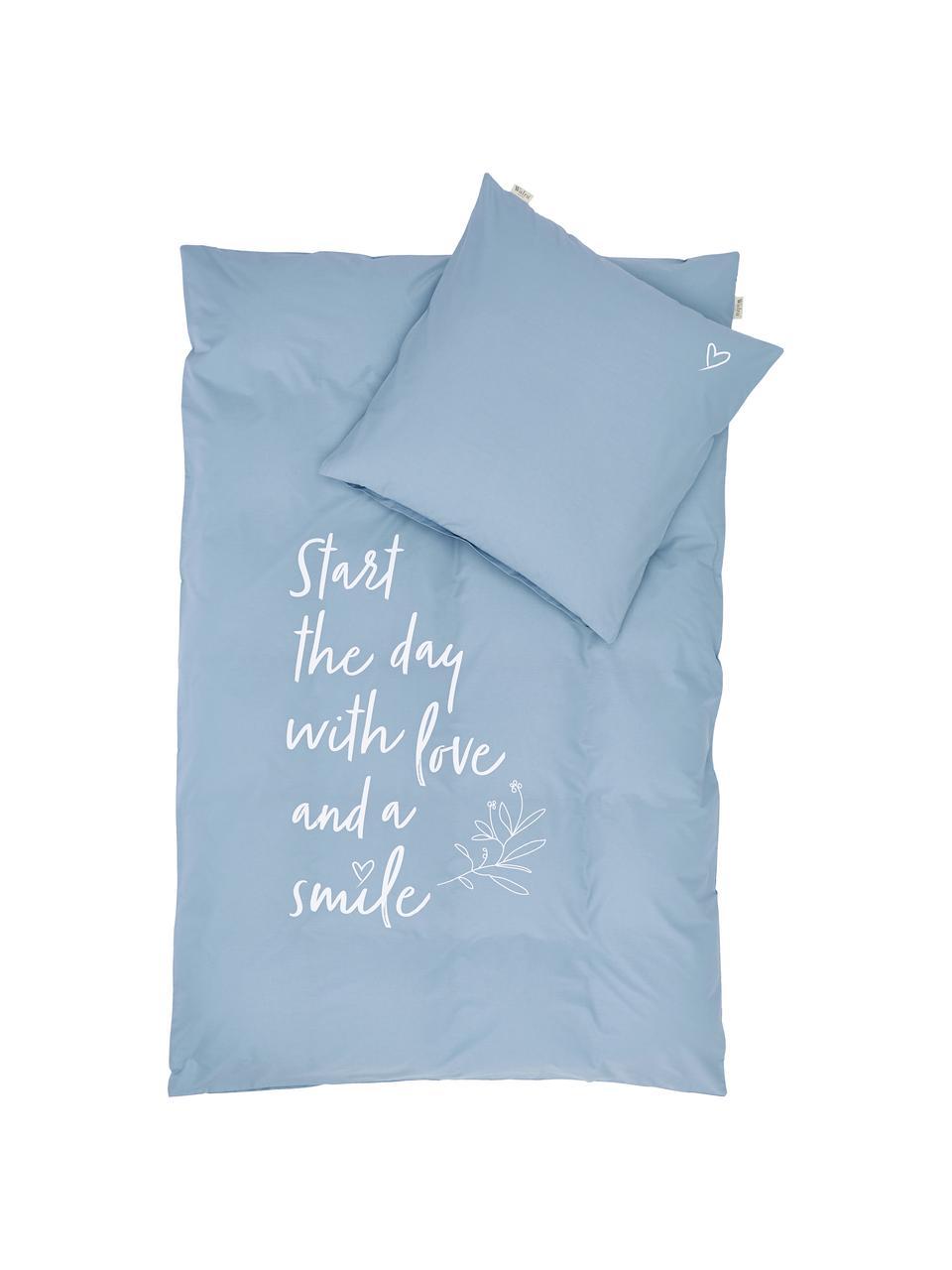Baumwoll-Bettwäsche Smile with Love mit Schriftzug, Webart: Renforcé Fadendichte 144 , Blau, Weiß, 155 x 220 cm + 1 Kissen 80 x 80 cm