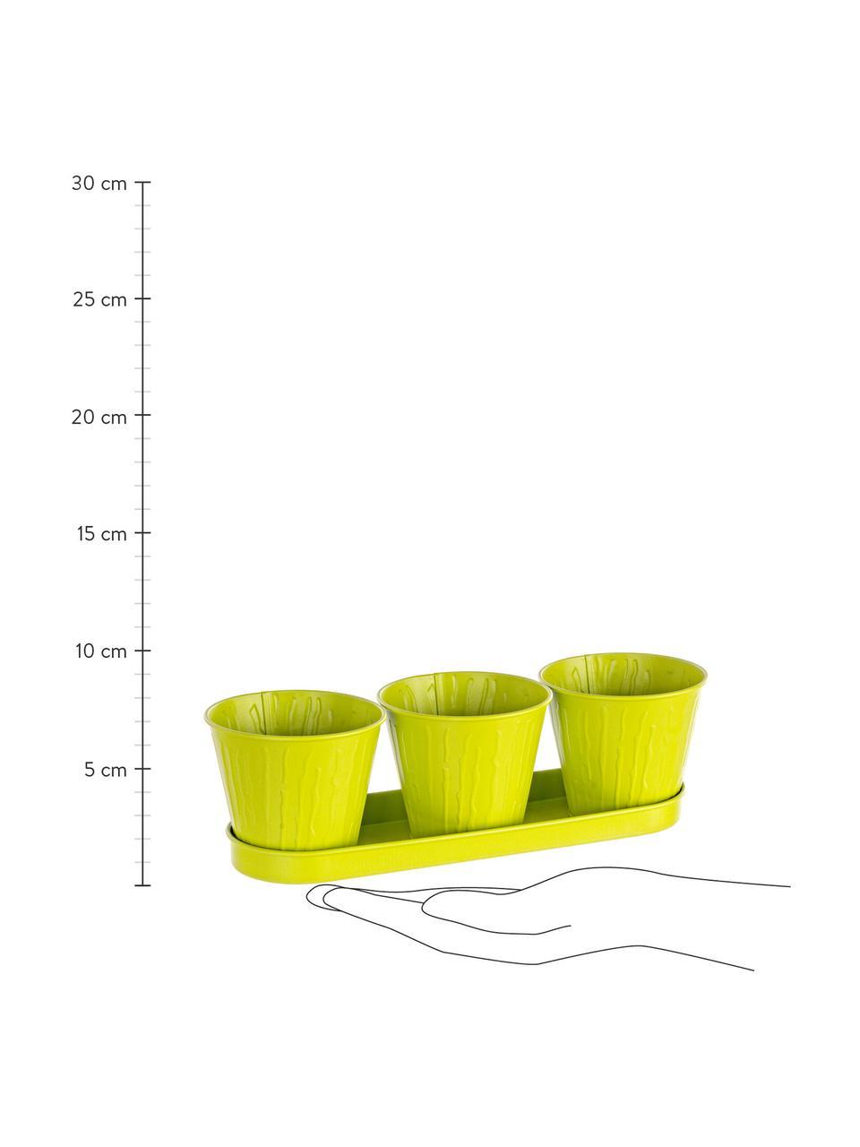 XS plantenpottenset Bark, 4-delig, Gecoat metaal, Limoenkleurig, Set met verschillende formaten