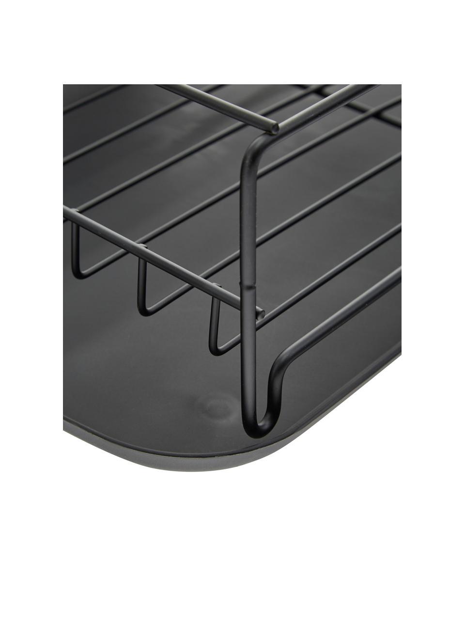 Scolapiatti Discha, Struttura: metallo rivestito, Nero, Larg. 42 x Alt. 12 cm