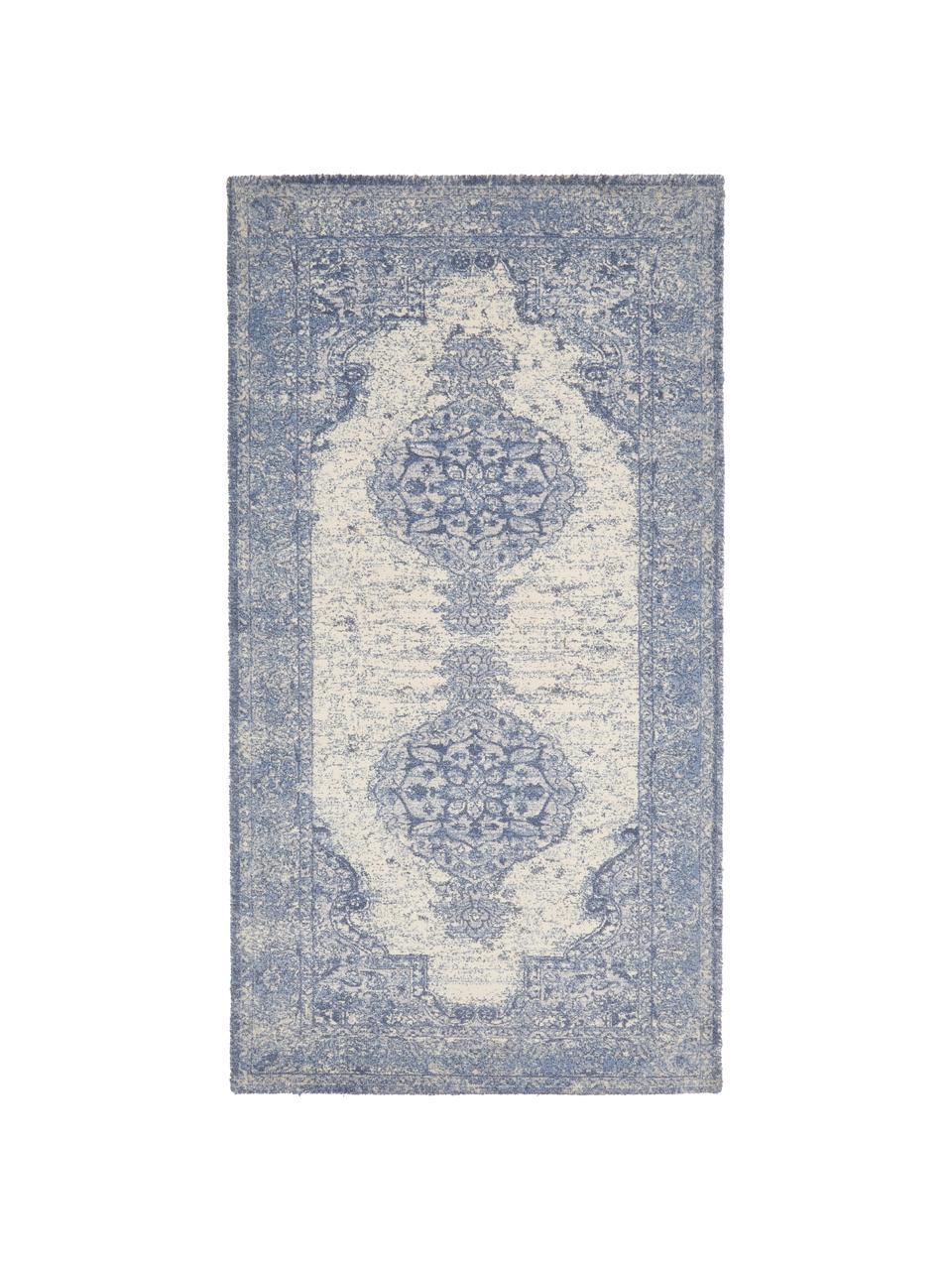 Vloerkleed Elegant in vintage stijl, Bovenzijde: 100% nylon, Onderzijde: 100% katoen, Blauw, B 80 x L 150 cm (maat XS)