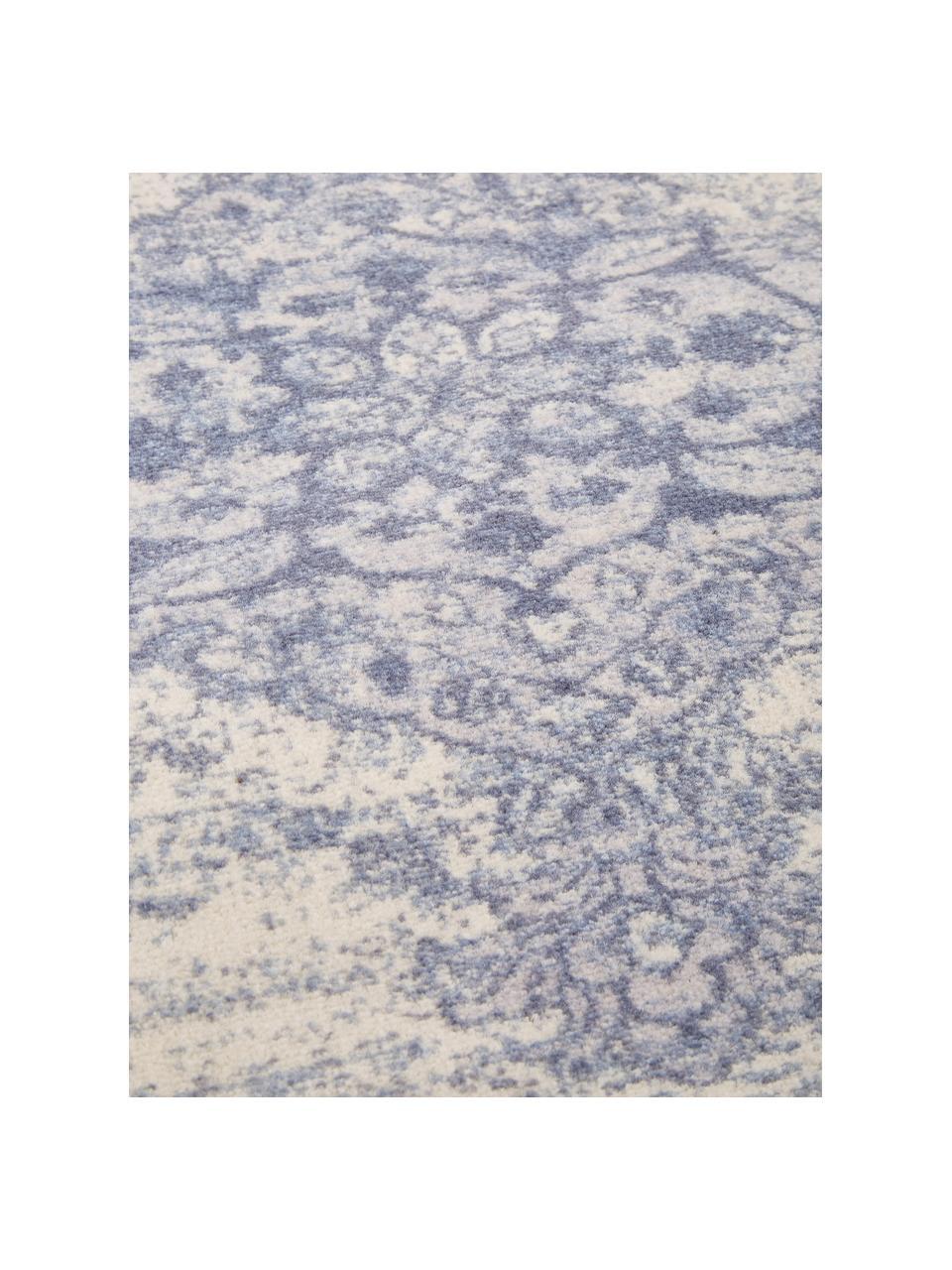 Tappeto vintage in nylon e cotone Elegant, Retro: 100% cotone, Blu, Larg. 120 x Lung. 180 cm (taglia S)