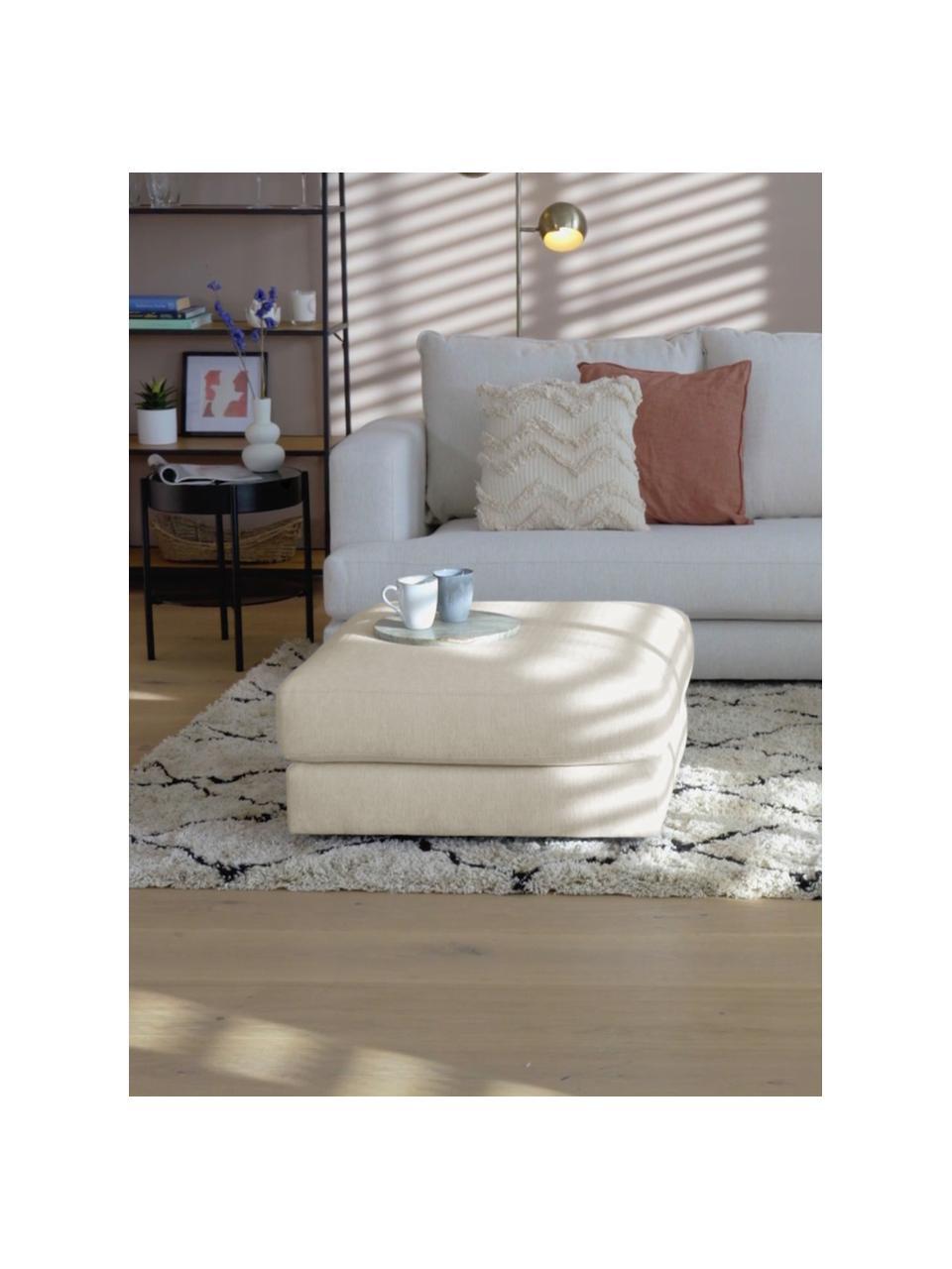 Voetenbank Tribeca in donkerbeige, Bekleding: 100% polyester, Frame: massief beukenhout, Poten: massief gelakt beukenhout, Stof donker beige, 80 x 40 cm