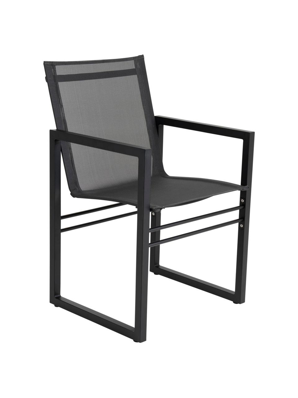 Gartenstuhl Vevi in Schwarz, Gestell: Aluminium, pulverbeschich, Sitzfläche: Textilene, Schwarz, B 57 x T 54 cm