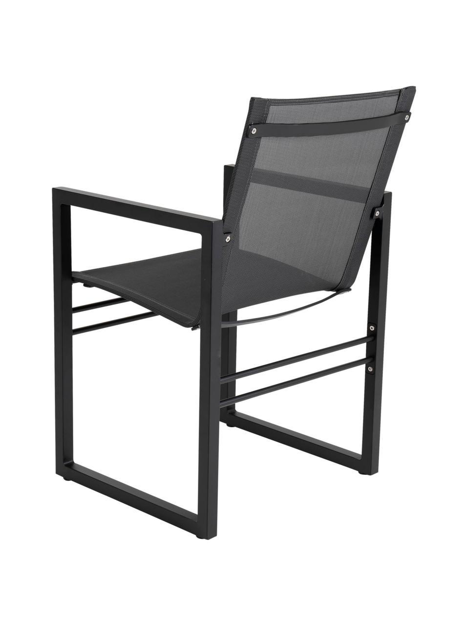 Krzesło ogrodowe Vevi, Stelaż: aluminium malowane proszk, Czarny, S 57 x G 54 cm