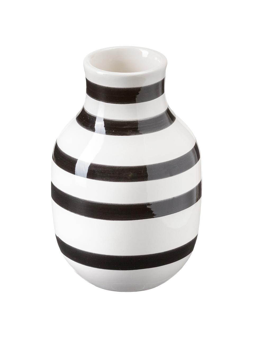 Duży ręcznie wykonany wazon Omaggio, Ceramika, Czarny, biały, Ø 8 x  W 13 cm
