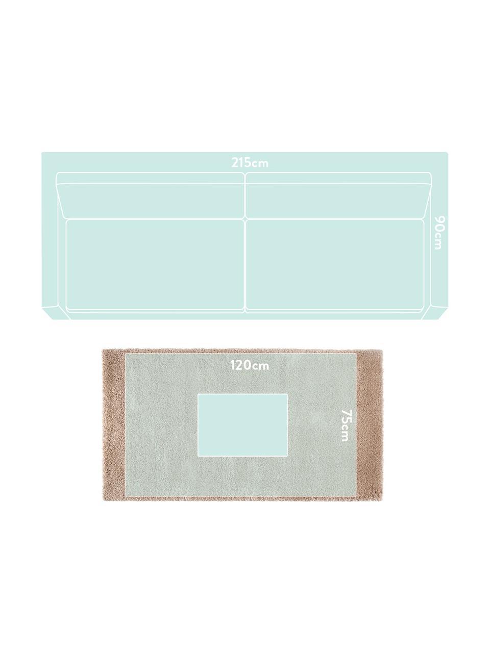 Flauschiger Hochflor-Teppich Venice in Braun, Flor: 100% Polypropylen, Braun, B 80 x L 150 cm (Größe XS)