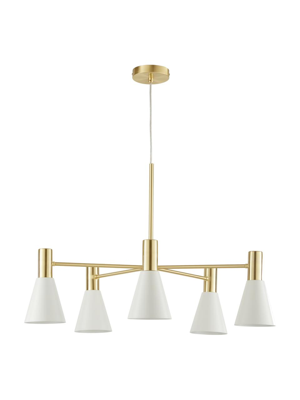 Duża lampa wisząca z metalu Sia, Klosz: biały, matowy Osłona mocowania sufitowego i stelaż lampy: mosiądz szczotk, Ø 75 x W 14 cm